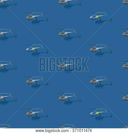 Helicopter Background. Civilian Helicopters Fly. Vector Themed Background. Flat Style. Seamless Patt