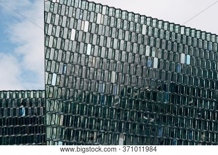 Reykjavik, Iceland - 02 May 2019: Close-up Icelandic Opera Harpa - Concert Hall And Conference Centr