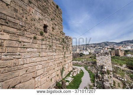 Old Walls Of Crusader Fortress In Byblos, Lebanon, One Of The Oldest City In The World