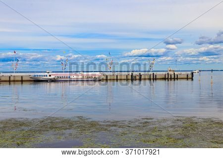 Hydrofoil Boats Moored At The Open Coast Of Gulf Of Finland, In Peterhof (suburb Of St. Petersburg),