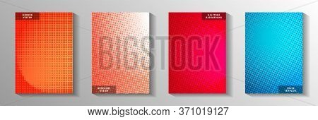 Random Circle Faded Screen Tone Title Page Templates Vector Set. Industrial Magazine Perforated Scre