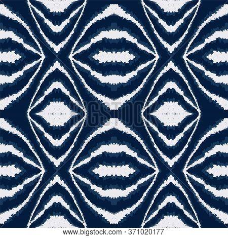 Denim Batik Geometric Vector Seamless Pattern. Traditional Stripe Tribal Design. Elegant Indonesian