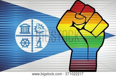 Shiny Lgbt Protest Fist On A Minneapolis Flag - Illustration, Abstract Grunge Minneapolis Flag And L