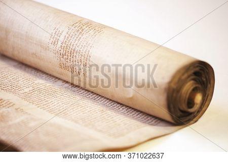 Lviv, Ukraine - April 3, 2020: Old Torah Scroll Book Close Up Detail. Torah Jewish People. The Torah