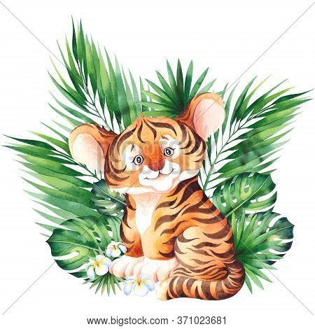Little Tiger Cub. Cute Children Cartoon Illustration. Watercolor Isolated On White Background.