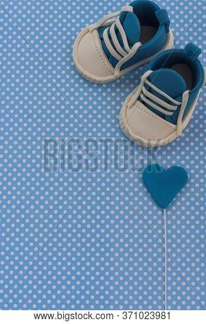 Baby Boy Blue Card.kids Background. Baby Shower Invitation.baby Announcement. Fondant Baby Accessori