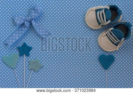 Baby Boy Blue Card. Newborn Background. Baby Shower Invitation.baby Announcement. Fondant Baby Acces