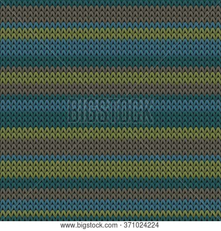 Close Up Horizontal Stripes Knit Texture Geometric Vector Seamless. Blanket Knitwear Structure Imita