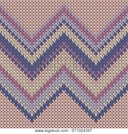 Jersey Zig Zal Lines Christmas Knit Geometric Vector Seamless. Plaid Knitwear Fabric Print. Nordic S