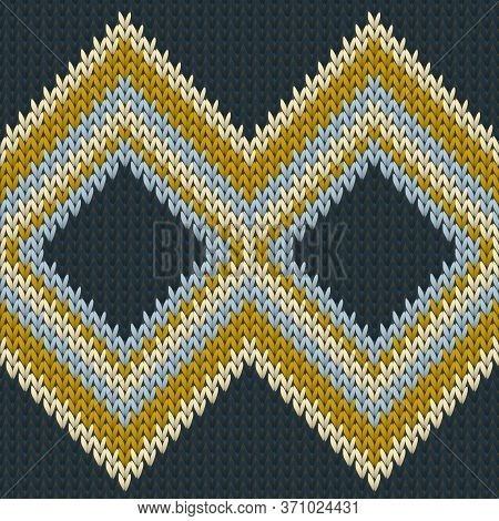 Chunky Rhombus Argyle Knitting Texture Geometric Vector Seamless. Jacquard Knit Tricot  Fabric Print
