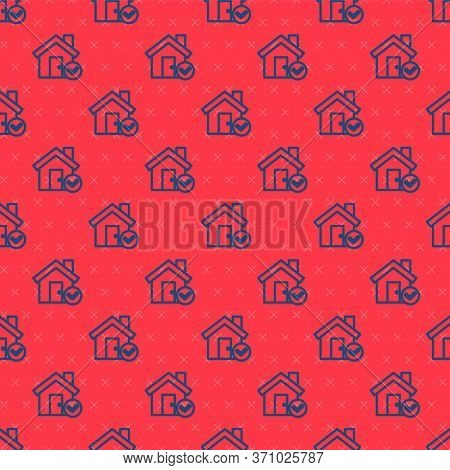 Blue Line House With Check Mark Icon Isolated Seamless Pattern On Red Background. Real Estate Agency