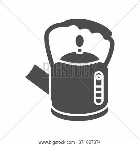 Retro Kettle Solid Icon, Kitchenware Concept, Straight Shaped Teakettle Sign On White Background, Te