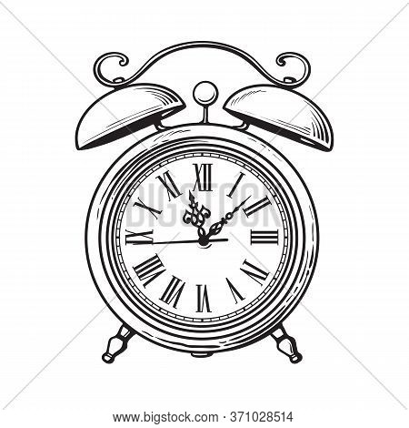 Sketch Of Old Alarm Clock. Hand Drawn Vector Illustration Isolated On White Background.