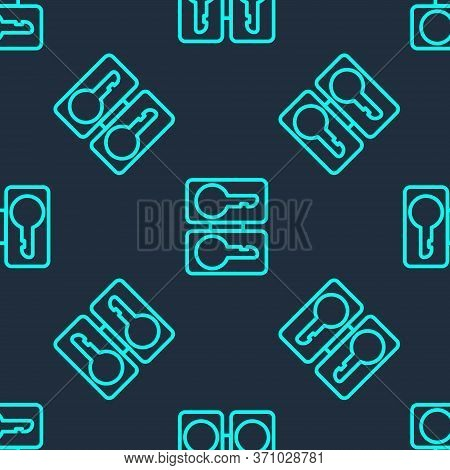 Green Line Metal Mold Plates For Casting Keys Icon Isolated Seamless Pattern On Blue Background. Set