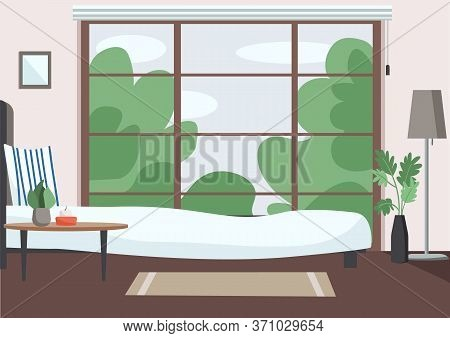 Empty Bedroom Flat Color Vector Illustration. Modern Apartment 2d Cartoon Interior With Big Window O