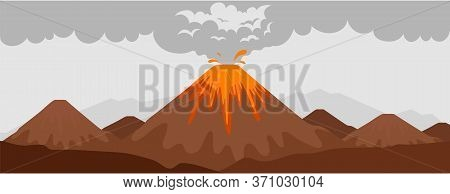 Volcano Eruption Flat Color Vector Illustration. Mountain With Hot Lava. Wild Nature Scenery. Natura
