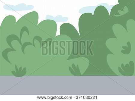 Empty Public Park Flat Color Vector Illustration. City Street 2d Cartoon Landscape With Green Bushes