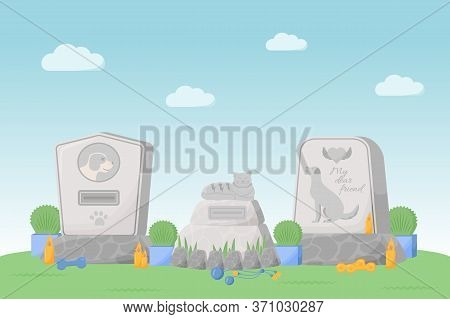 Pet Memorial Flat Color Vector Illustration. Tomb Stones With Cat And Dog Portrait. Grave For Puppy.