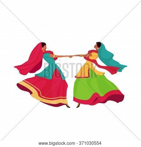 Indian Girls In Sari Flat Color Vector Faceless Character. Two Woman In Sari Hold Hands And Dance. T