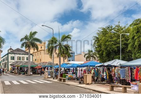 Philipsburg, St. Maarten - May 1, 2019: Streets Markets Selling Traditional Caribbean Clothing In Ph