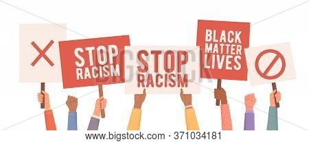 People Protest Against Racism. Hands Holding Posters. People With Posters Protest. Anti Racism Prote