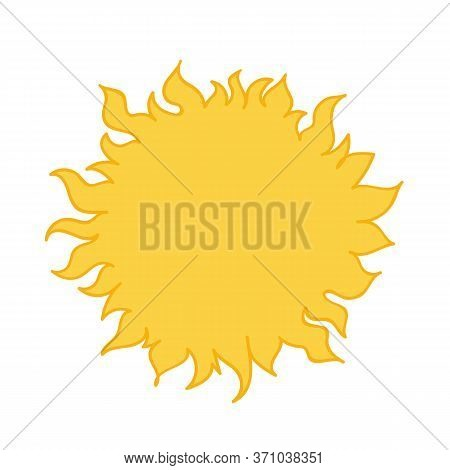 Yellow Sun. Cartoon Style Hand Drawn Vector Illustration Isolated On White Background.