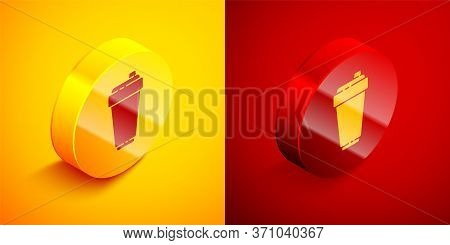 Isometric Fitness Shaker Icon Isolated On Orange And Red Background. Sports Shaker Bottle With Lid F