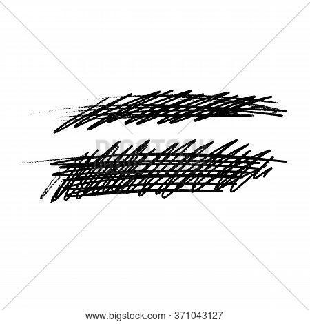 Black Charcoal Grungy Texture, Dusty Blackboard Element, Crayon Hand Drawn Line Skribble, Vector Abs