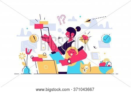 Multitasking Busy Mom At Home Concept, Vector Illustration Tiny Female Person Concept. A Woman Manag