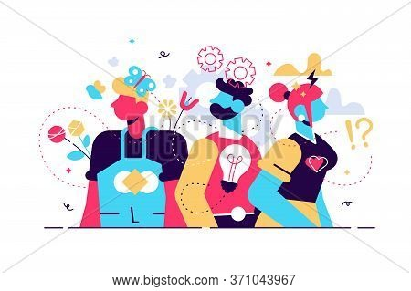 Behavior Vector Illustration. Flat Tiny Feelings Expression Persons Concept. Various Facial Emotion