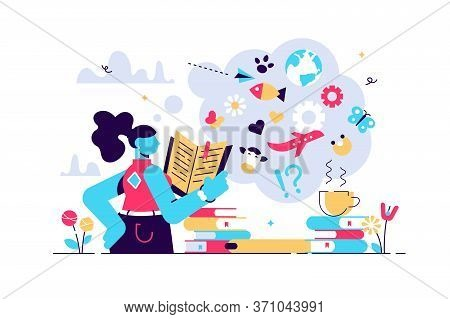 Reading Vector Illustration. Flat Tiny Expand Knowledge Horizons Person Concept. Book, Encyclopedia