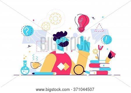 Genius Vector Illustration. Flat Tiny Smart Scientific Persons Mind Concept. Abstract Formulas Devel