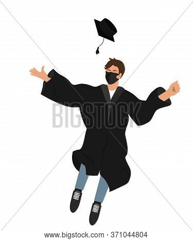 Happy Graduate Student In Medical Mask And Graduation Clothing Jumping And Throwing The Mortarboard