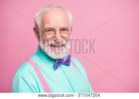 Closeup Photo Of Amazing Look Grandpa Positive Facial Expression Toothy Beaming Smile Wear Specs Min