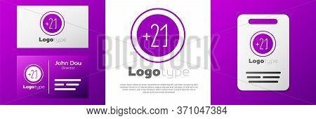 Logotype Alcohol 21 Plus Icon Isolated On White Background. Prohibiting Alcohol Beverages. Logo Desi