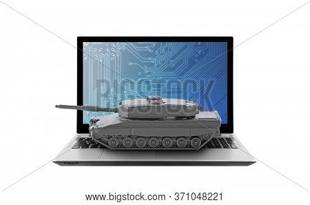 Tank on laptop isolated on white background