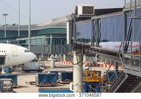 Hong Kong, China - October 7, 2018: Passenger Plane At Airport At The Terminal Gate At The Hong Kong