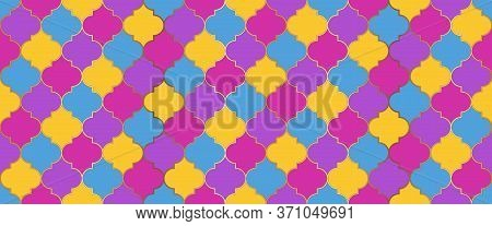 Eid Mubarak Islamic Background. Moroccan Seamless Mosaic Texture. Moroccan Seamless Design Ramadan T
