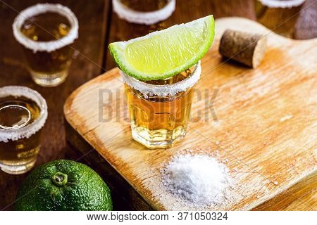 Detail Of The Tequila Drink, With A Specific Focus On The Lemon. Typical Drink From Mexico.