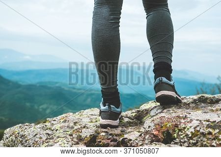 Traveling Outdoor Hiking In Nature. Traveling In Nature. Woman Hiking In Mountain In Nature. Nature.