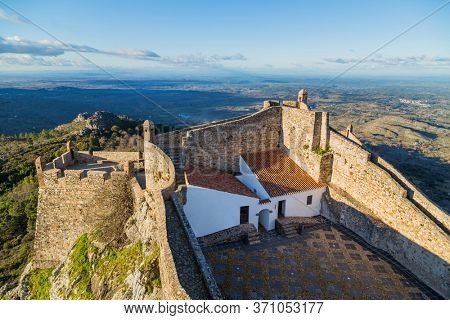 Marvao, Portugal - July 09, 2019. Fortress in the village of Marvao, Alentejo, Portugal