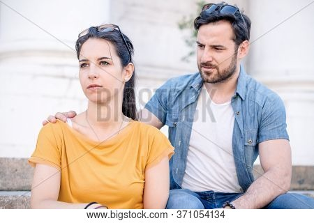 Boyfriend Consoling Sad Girlfriend After Bad Argument