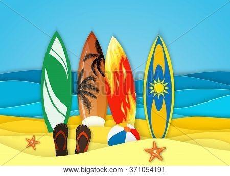 Sea Landscape With Beach, Surfboard, Waves, Flipflops Shoe. Paper Cut Out Digital Craft Style. Abstr