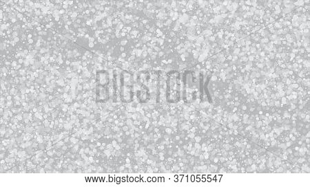 Falling Snow On Gray, Vector. Falling Snowflakes, Night Sky. Winter Holidays Storm Background. Adver