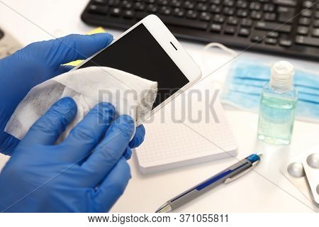 Office Space Wiping Corona Virus Cleaning And Disinfection Of Your Workspace. Disinfectant Wipes For