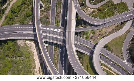 Aerial View Of Highway Road, Interchange And Overpass In City.