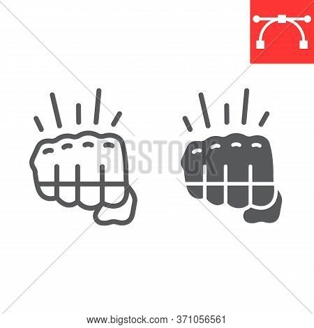 Fighting Game Line And Glyph Icon, Video Games And Fight Club, Fist Sign Vector Graphics, Editable S