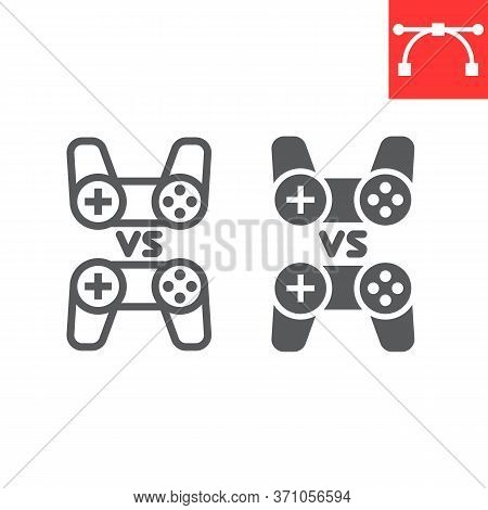 Multiplayer Game Line And Glyph Icon, Video Games And Gamepad, Game Consoles Sign Vector Graphics, E