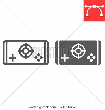 Mobile Game Line And Glyph Icon, Video Games And Smartphone, Mobile Gaming Sign Vector Graphics, Edi