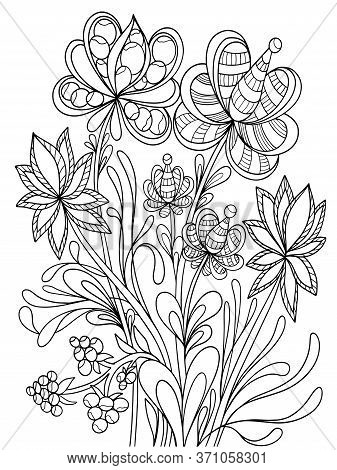 Flowers Graphics Book Coloring Ornament Antistress Contour For Children And Adults Vacation Vector I